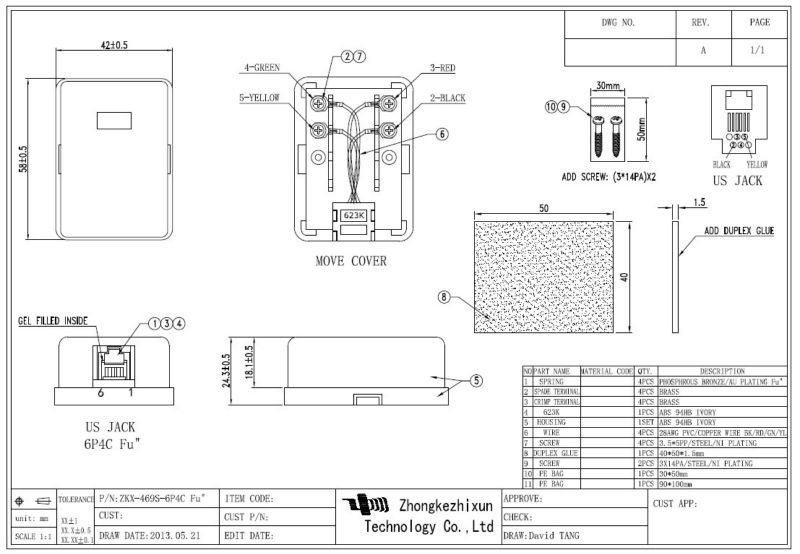Rj11 Telephone Wall Mount Box Gel Filled,Filled Gel