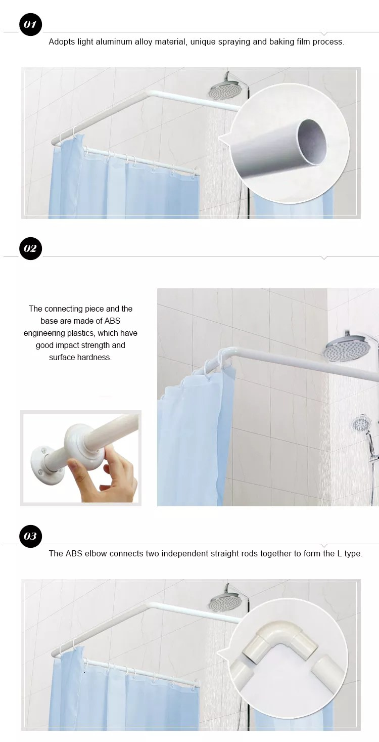 Aluminum Material Bathroom Corner Curved Shower Curtain Rod Buy Shower Curtain Rod C Shape Shower Curtain Rod Assembly C Shape Shower Curtain Rod