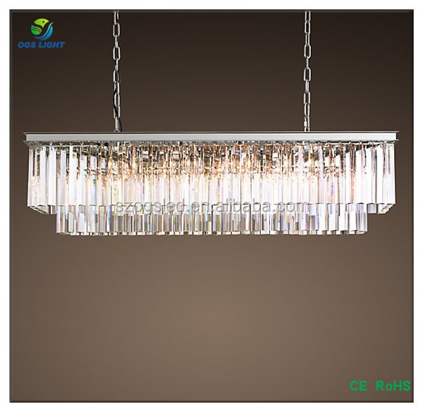2017 Light Odeon Clear Glass Fringe Rectangular Chandelier
