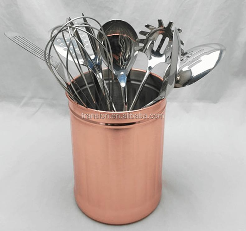 copper kitchen utensil holder kidkraft grand espresso corner large 1 gallon stainless steel caddy crock to organize tools untesil
