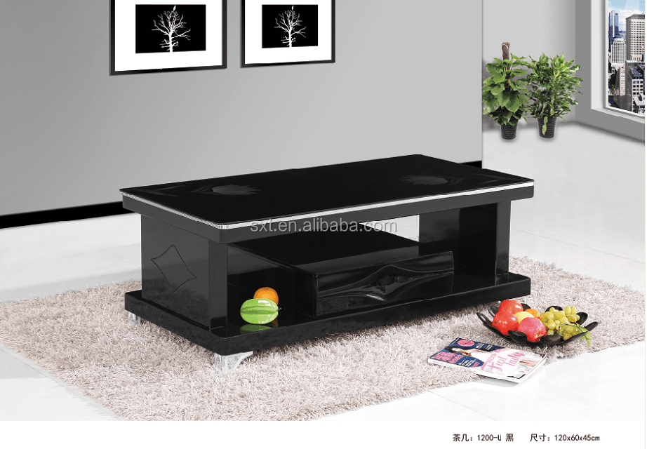 black high gloss living room furniture dining and sets modern wood coffee table center