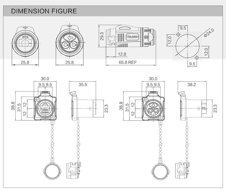 Metal Ip67 Rj45 Connector Rj45 Male Female Connector 8p8c