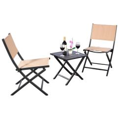 Small Outdoor Patio Table And Chairs Swivel Chair Pad Cheap Find Get Quotations Ak Energy 3pc Portable Lawn Square Folding Coffee Furniture Set Earth Yellow