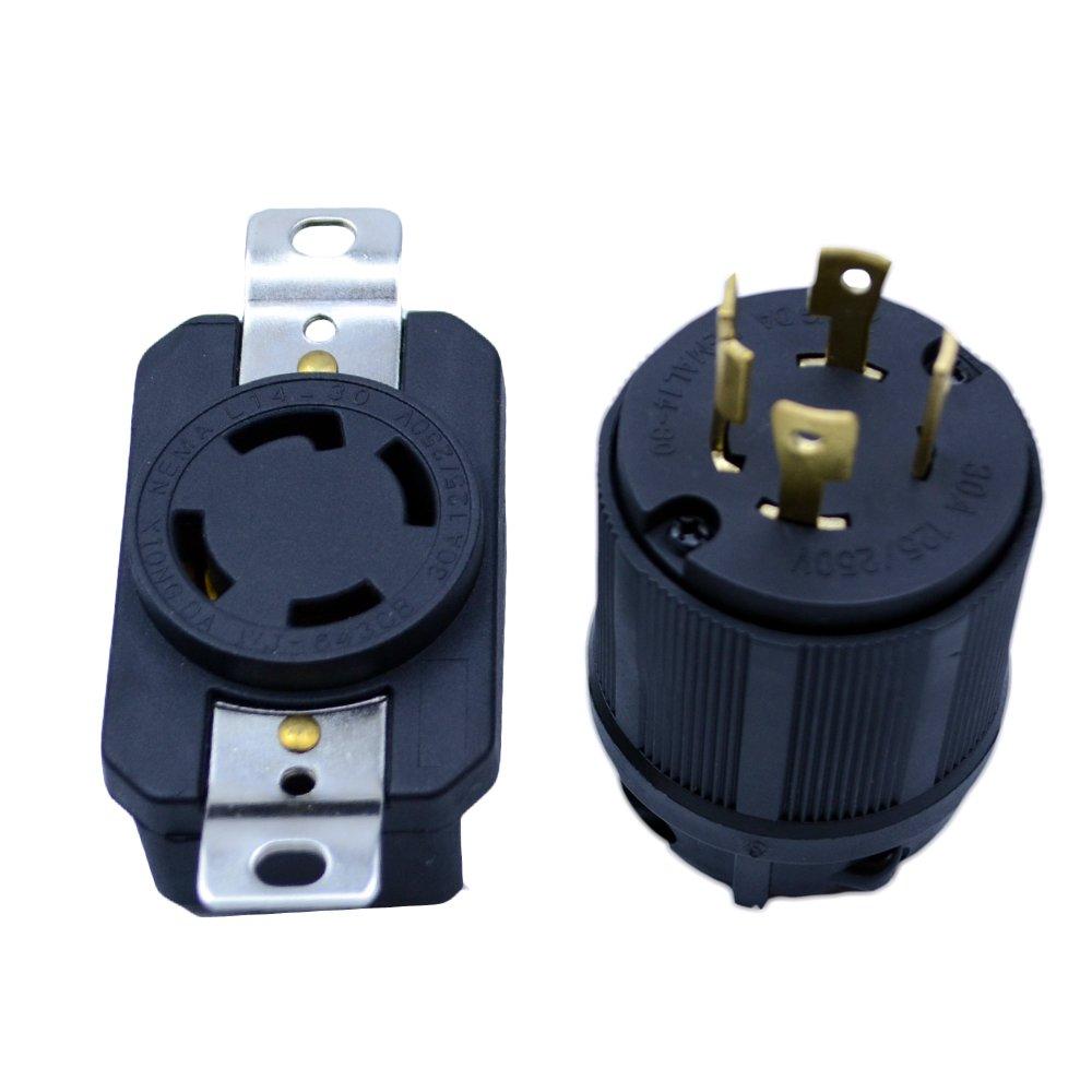 hight resolution of get quotations flypig generator rv ac plug socket l14 30 30 amp 120v 220v male