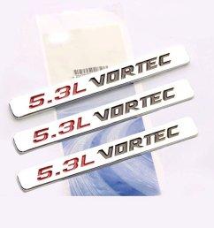 get quotations yoaoo 3pcs oem 5 3l vortec hood emblems engine badge 3d silverado z71 gm sierra [ 1001 x 1001 Pixel ]