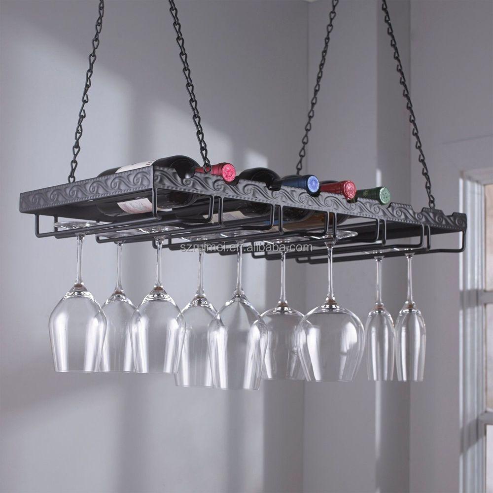 haut plafond suspendu en metal support de verre buy etagere en verre suspendue etagere pour bouteille de vin presentoir pour bouteille de vin