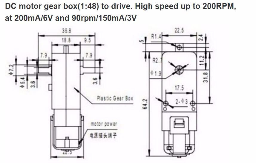 1:120 TT Double Shaft DC 6V Gear Motor For Robot Smart Car