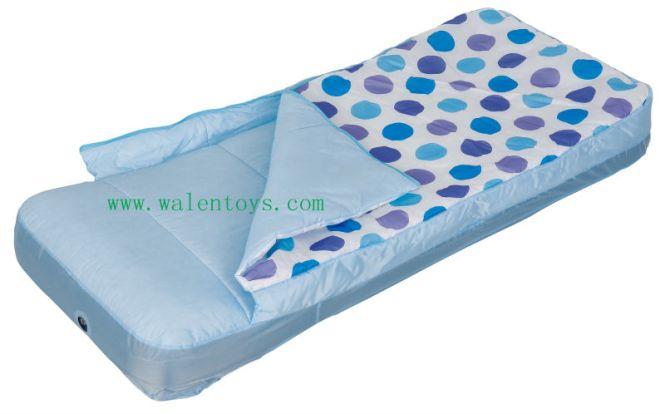 Toddler Kids Outdoor Travel Air Mattress Bed W Rails Sleeping Bag