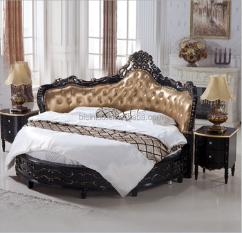 Luxury Black Wooden Round BedRoyal Black Round Bed  Buy