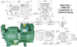 Yemoo 25hp Cold Roo Piston Bitzer Semihermetic Compressor