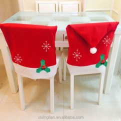 Christmas Chair Covers White Wheelchair Hs Code Holiday Red Felt Cover Back Santa Hats Set Of 4 For