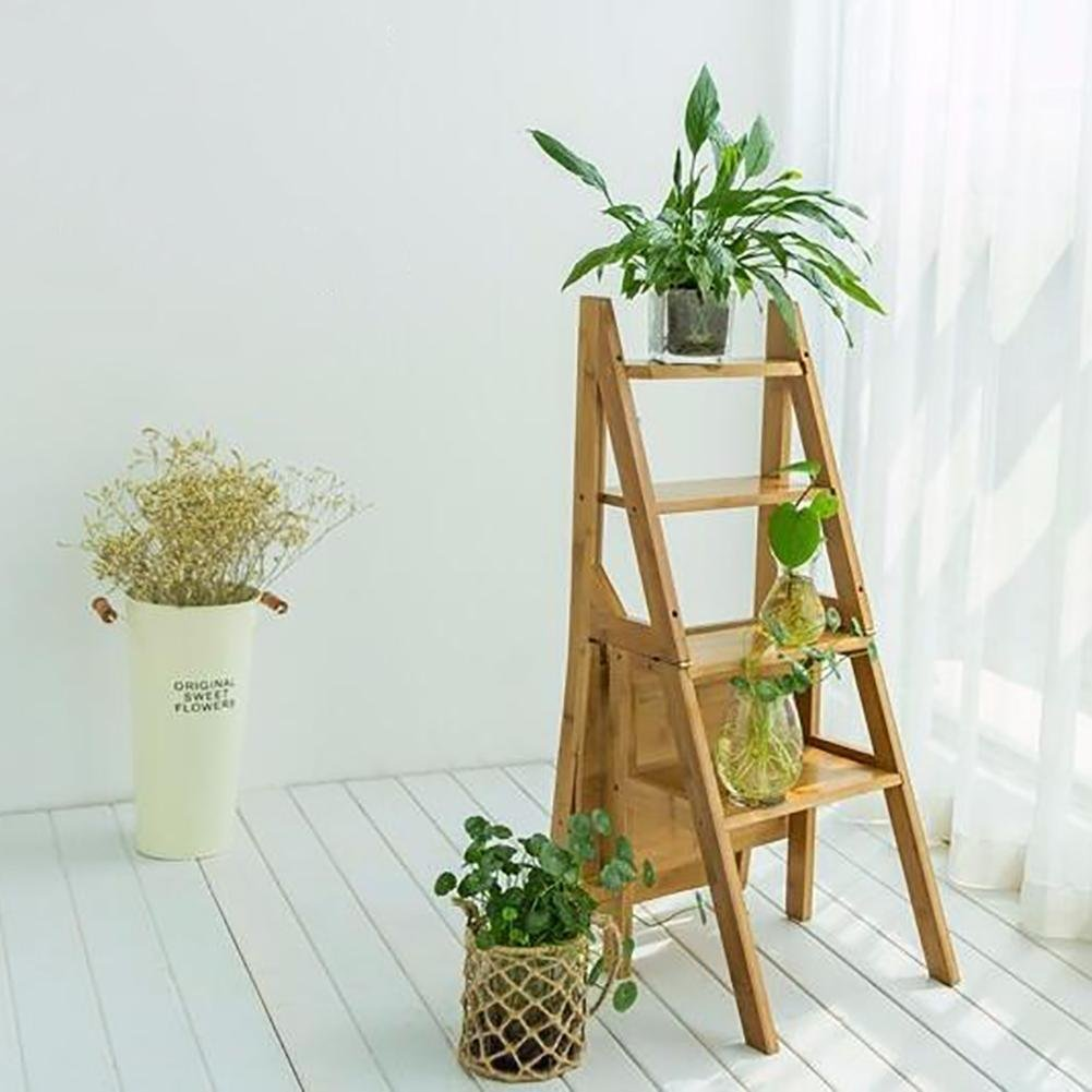 library chair ladder homedics reclining massage cheap step find get quotations innovative bamboo multifunction folding four climb the household