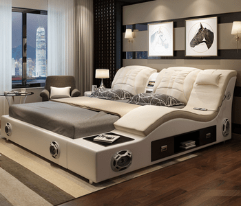 Luxury White Bedroom Furniture Modern Leather Bed Multifunction Massage Bed Latest Double Bed Design View Latest Double Bed Product Details From Tls Shenzhen Co Ltd On Alibaba Com