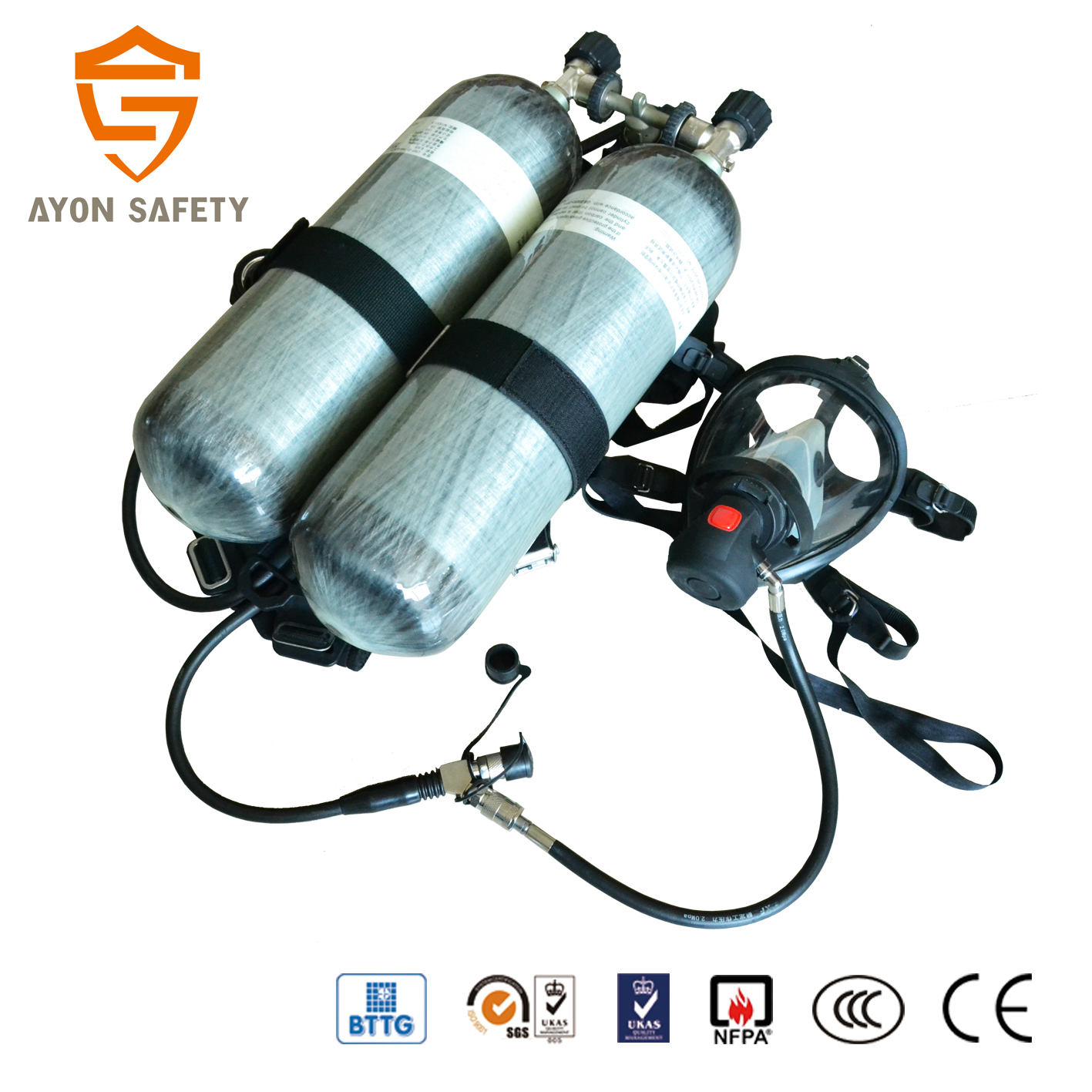 hight resolution of scott drager ce approved scba fire fighting breathing apparatus set with double carbon fiber cylinder