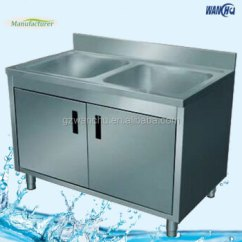 Kitchen Sink Cabinets Keen Shoes Singapore Market Double Bowl Commercial Stainless Steel Corner Portable