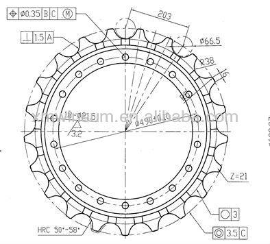 Warranty 2000h For Hitachi Ex200 Ex220 Excavator Sprocket