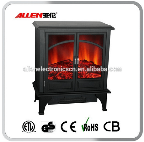 Metal Wood Burning Electric Fireplace With Thermostat