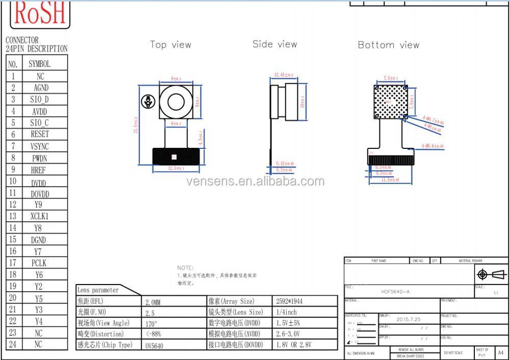 Cheap Cmos Camera Module 24pin Dvp Ov5640 Fix Focus