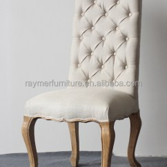 Wood Frame Living Room Furniture Chaise Cream Linen Button Tufted High Back Fabric Dining Chairs ...