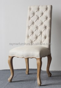 Cream Linen Button Tufted High Back Fabric Dining Chairs ...