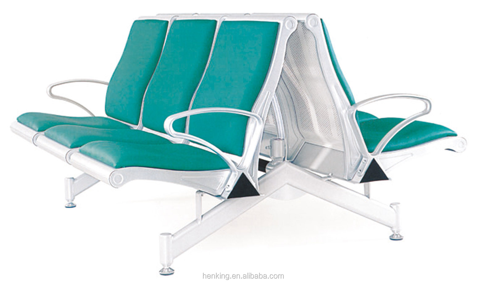 steel airport chair brown leather butterfly henking high quality 3 seater stainless