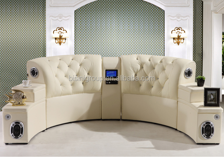 Modern Home Music Round Bed Furniture Leather Round Bed