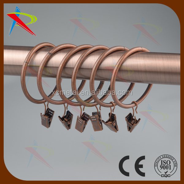 Shiny Copper 2 Inch Curtain Rings With Small Curtain Ring Clips