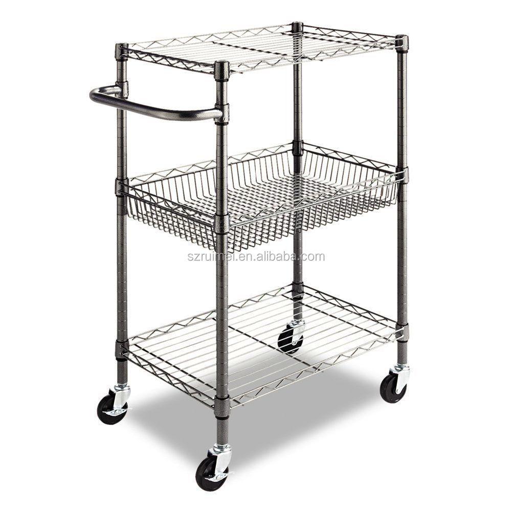 utility kitchen island cart 3 tier wire storage rack microwave stand buy kitchen island cart stand 3 tier wire rack microwave metal rack product on