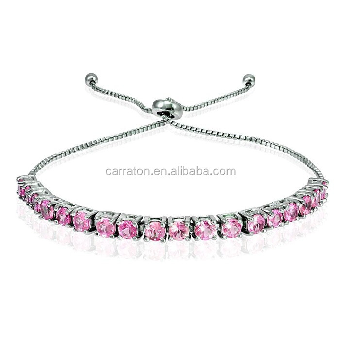 925 Sterling Silver Rhodium Plated Aaa Grade Pink Cz