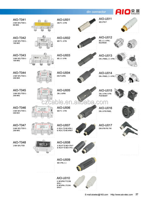 Mini Din 3pin 4pin 5pin 6in 7pin 8pin Male Connector With