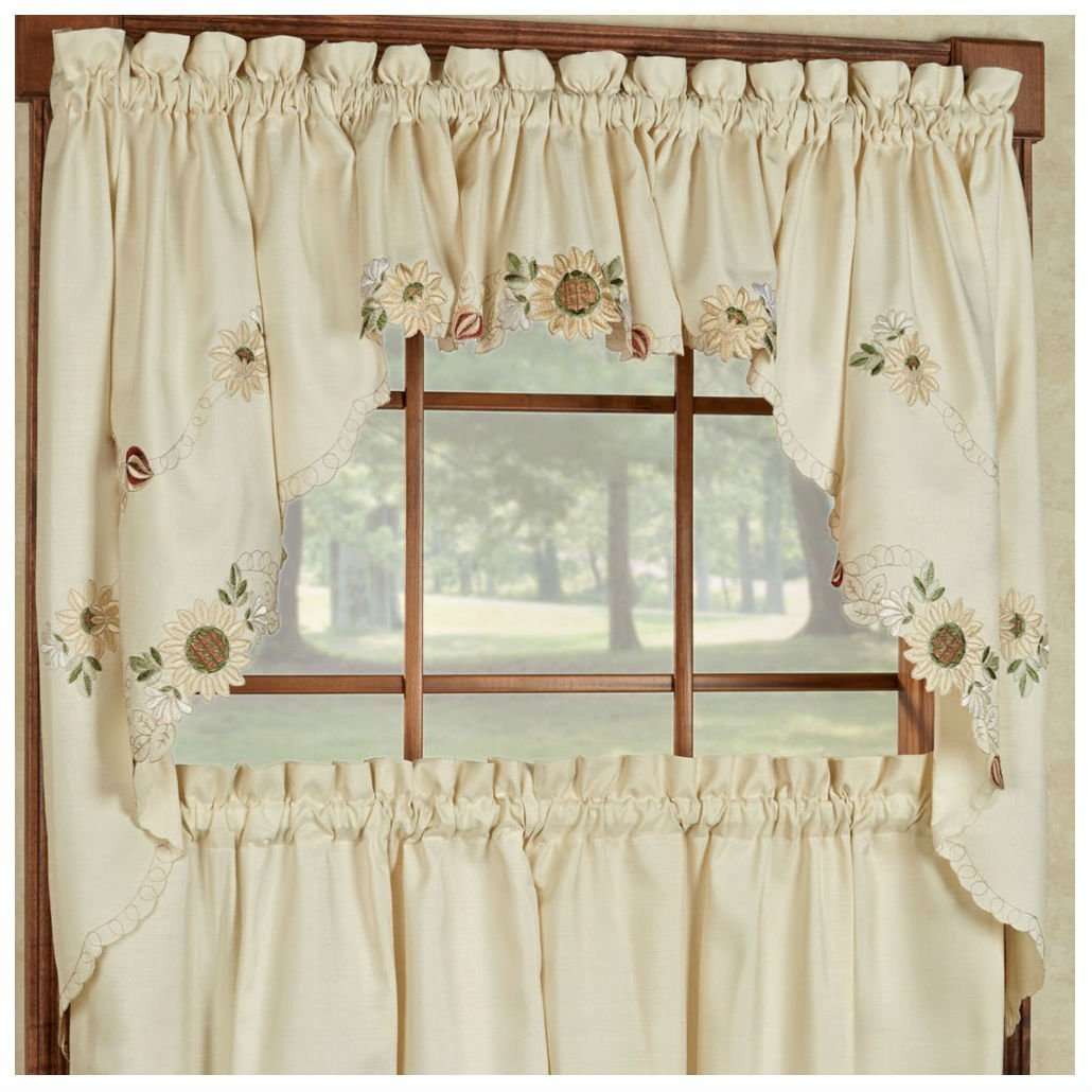 kitchen swag curtains red trash can cheap valance find get quotations sunflower cream embroidered tiers or 24 cafe tier