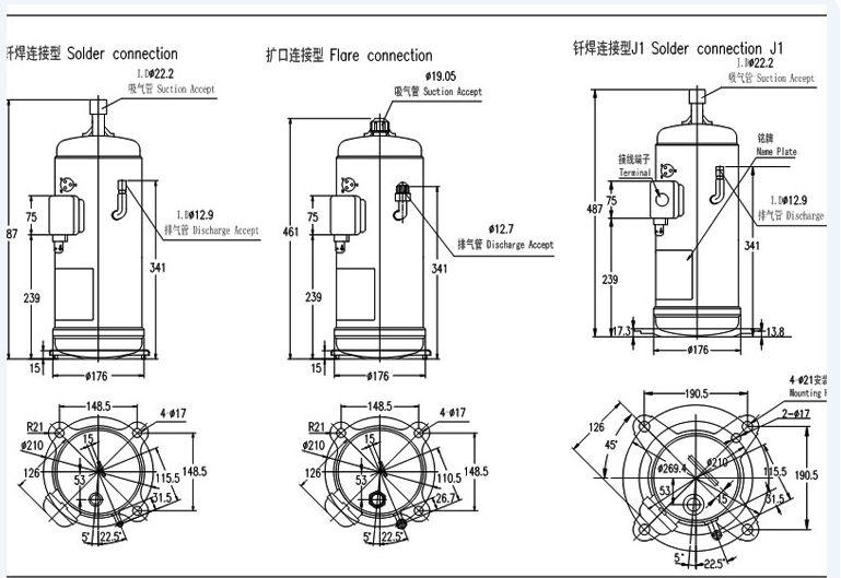 15hp piston type Hitachi Compressor 1500FH4-T, View piston