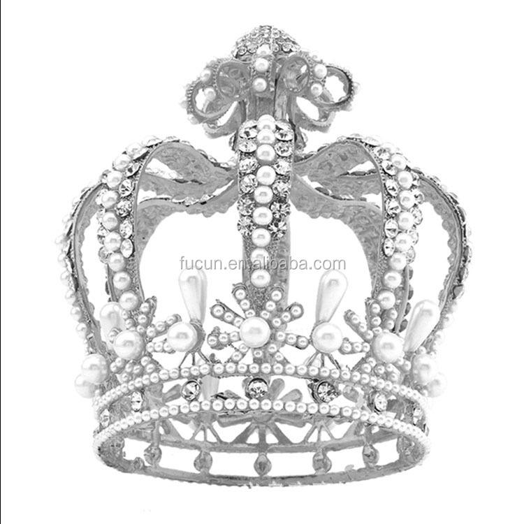 Custom Pageant Baroque Crystal Crowns Wedding Full Round