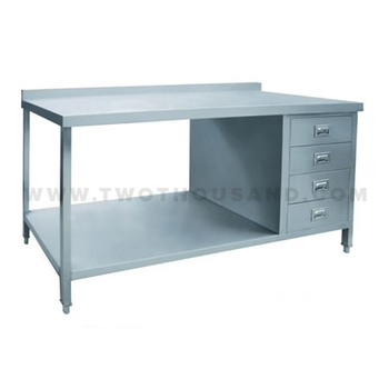kitchen work tables kohler undermount sink tt bc322e 2 ties with drawers stainless steel table bench