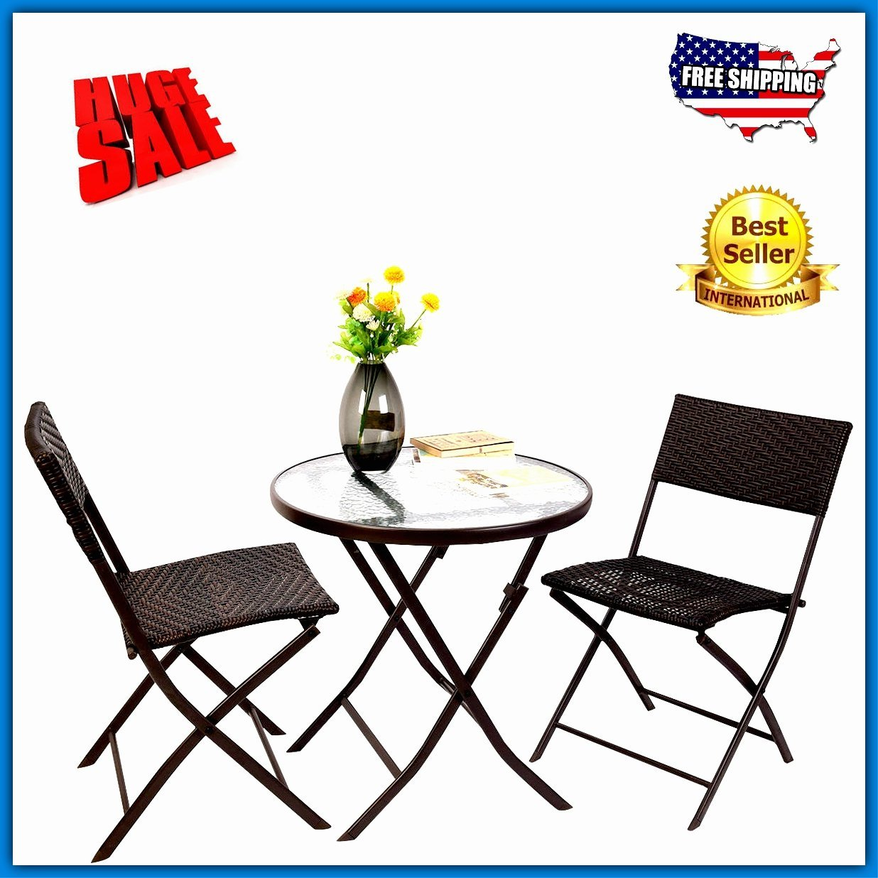 two seat lawn chairs floor chair uk cheap sturdy find deals on line at get quotations bistro table set 2 seater 3pc brown rattan metal wicker style folded