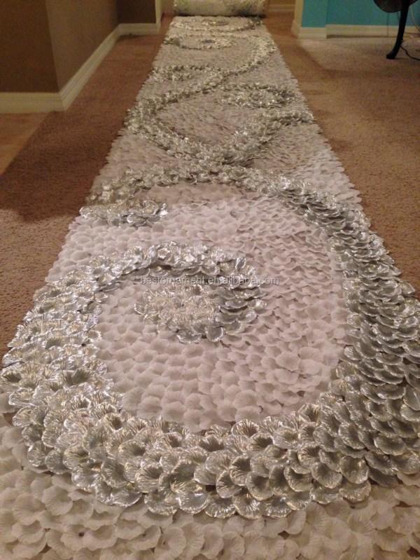 White & Silver Swirl Silk Rose Petal Aisle Runner