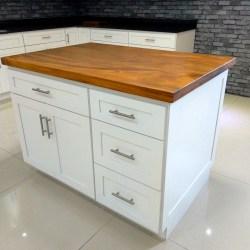 cocina madera isla ruedas americana maciza rueda armarios moderna piedra encimera marmol cuarzo granito artificial