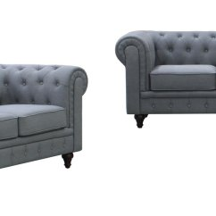 Velvet Chesterfield Sofa Prices Modern Contemporary Leather Sectional Buy Us Pride Furniture S5070 2pc Linen Fabric Set Grey