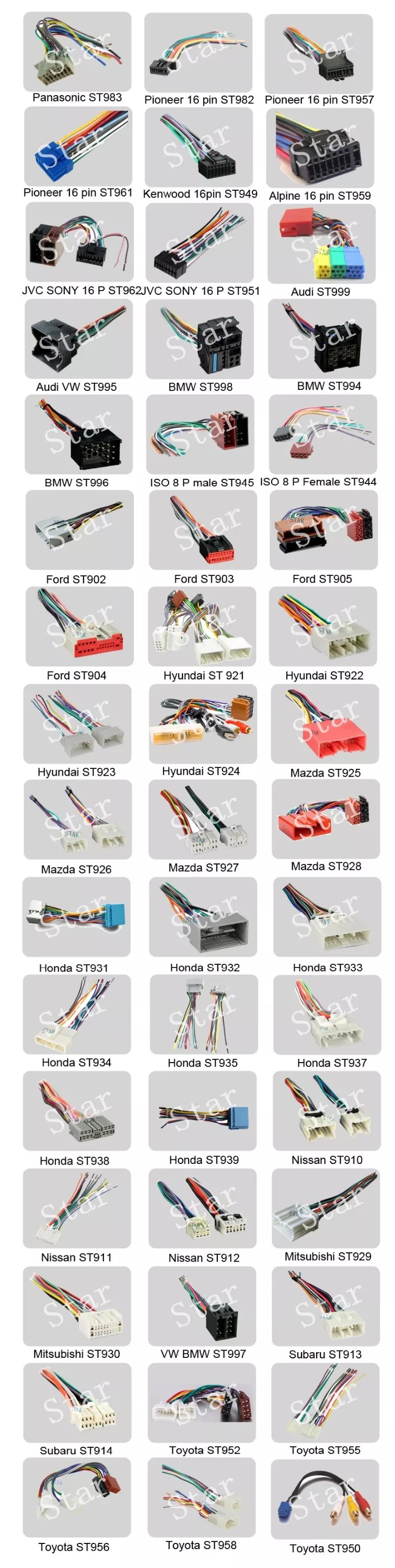 medium resolution of 16 pin pioneer car radio stereo iso wiring harness manufacturer
