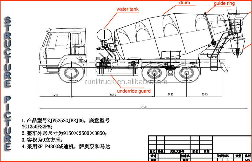 Beiben Concrete Mixer Truck Supplier For Actross4141 48m 8