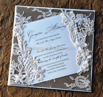 Chic Vintage Flowers Lace Wred Wedding Invitations Card With Printing Handmade Invitation Flower