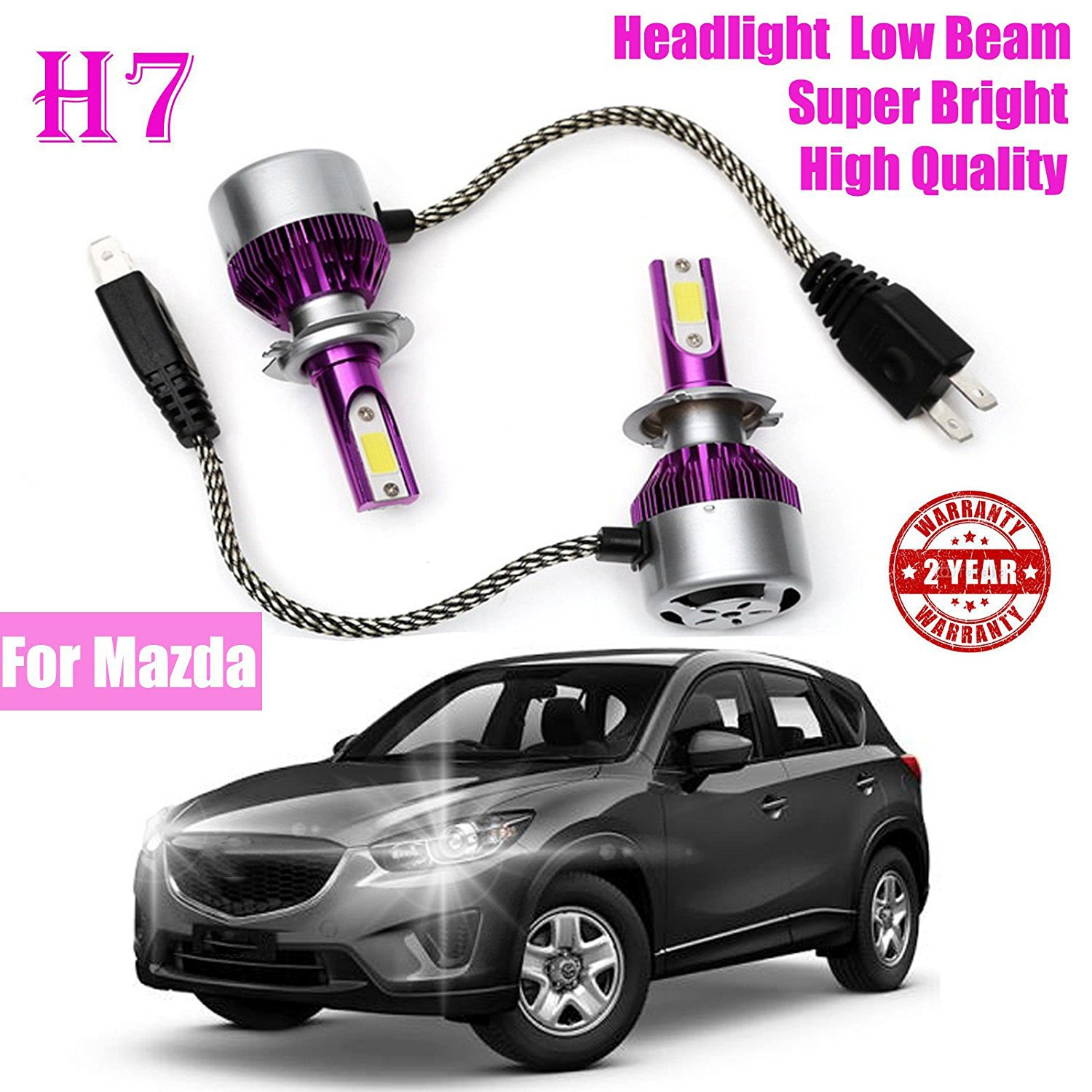 hight resolution of get quotations h7 cob led bulb headlight low beam light front 180w 7200lm super bright 6000k white for