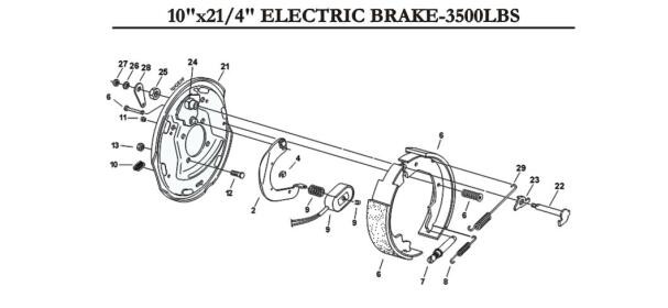 Trailer Axle Parts 10 Inch Electric Parking Brake Sale For