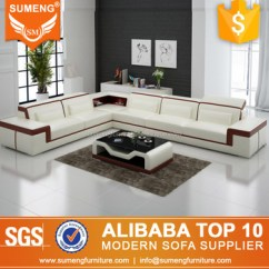 Best Sofa Set Designs For Living Room Travertine Tile Wall Quality Latest Fancy White And Brown Genuine Leather Corner