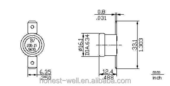 250V 16A Home Appliance Bimetallic Thermostat with brass