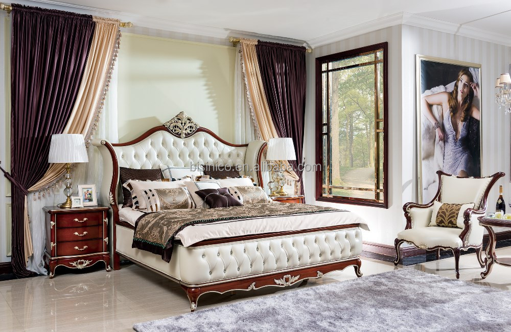 Bisini Royal Bedroom FurnitureLuxury Solid Wood Bed Room