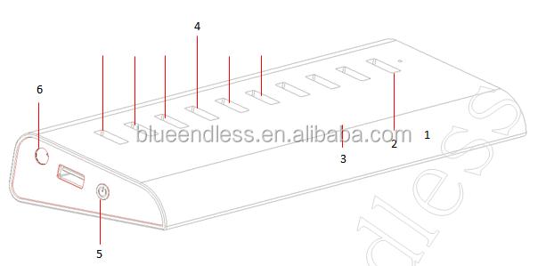 Blueendless External Usb Connector 4 Ports Usb3.0 Hub + 3