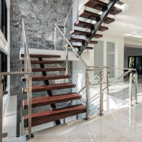 Open Riser Stairs Solid Wood Tread Single Steel Stringer U ...