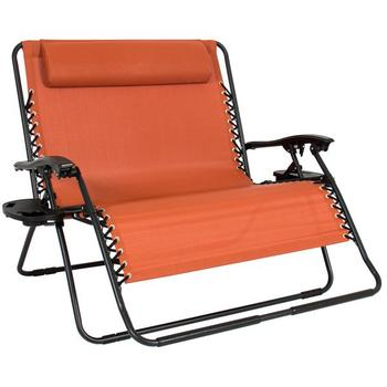huge lawn chair plastic pool chaise lounge chairs patio double person folding recliner zero gravity wide with 2 cup holders