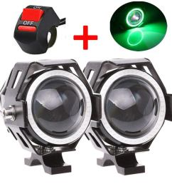 motorcycle headlight u7 led fog lights spotlight drl daytime driving lights strobe lights with green halo [ 1000 x 1000 Pixel ]